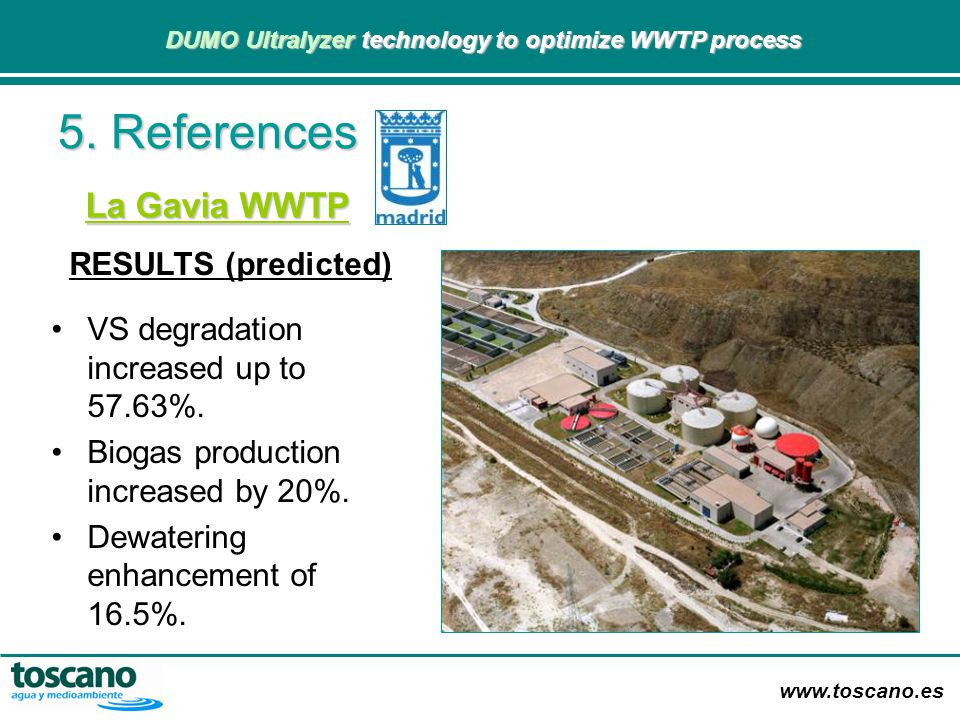 5. References La Gavia WWTP RESULTS (predicted)