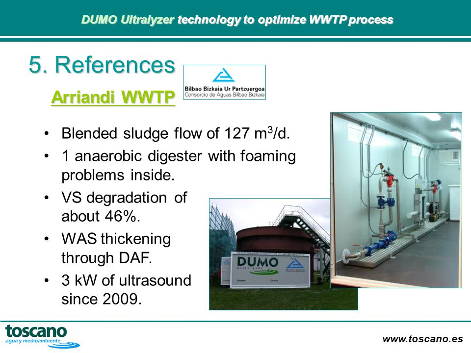 5. References Arriandi WWTP Blended sludge flow of 127 m3/d.