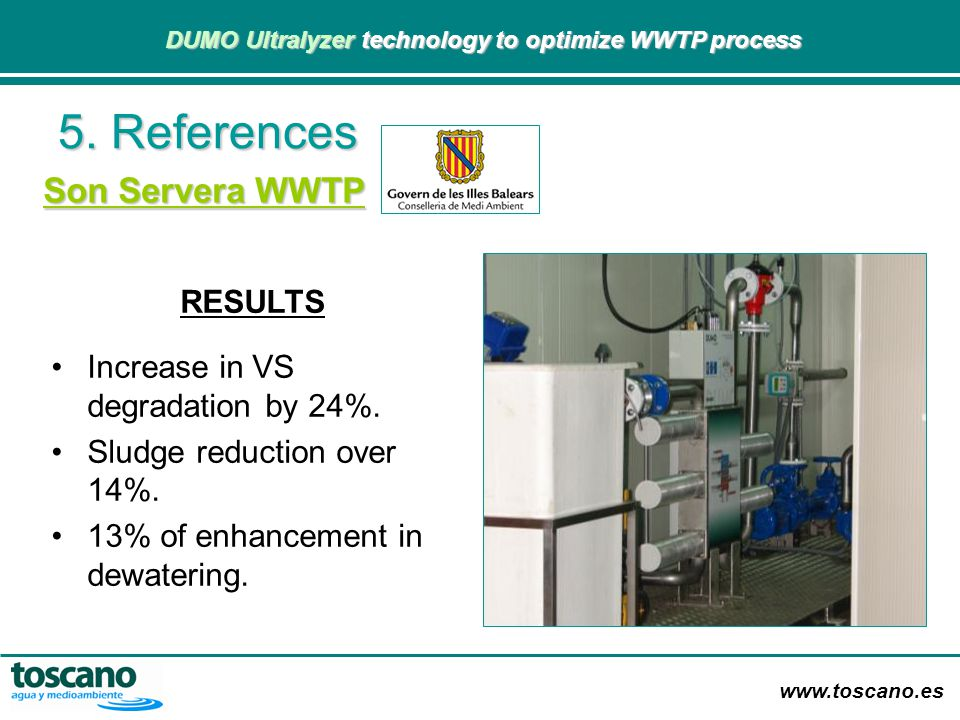 5. References Son Servera WWTP RESULTS