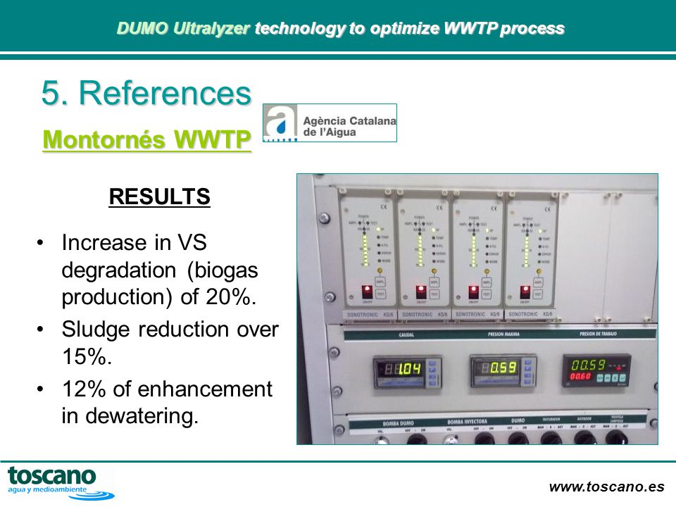 5. References Montornés WWTP RESULTS
