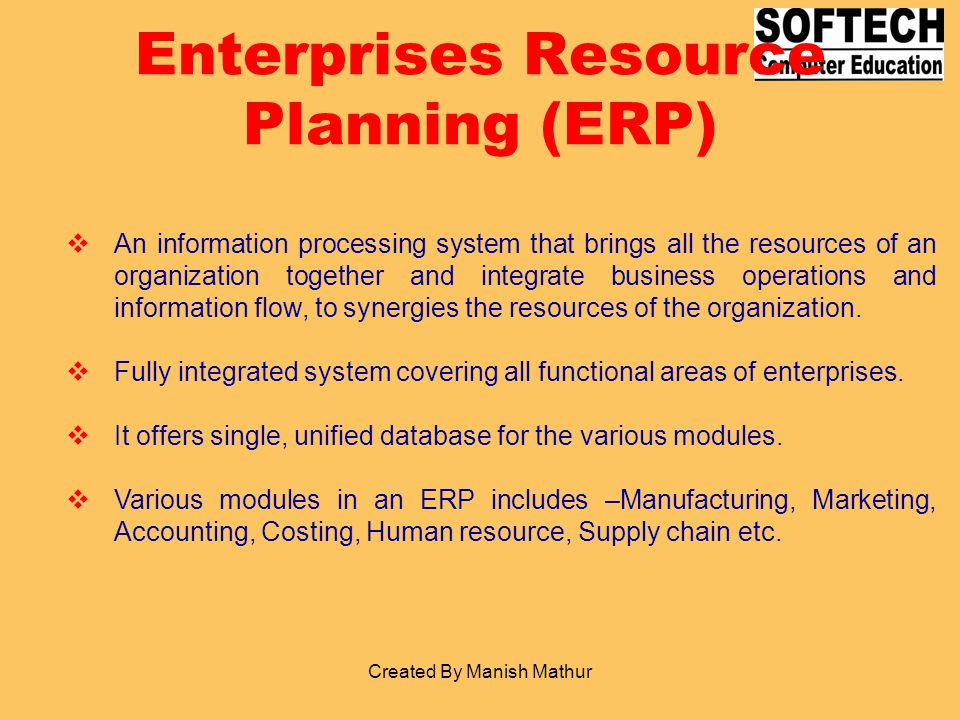 Enterprises Resource Planning (ERP)