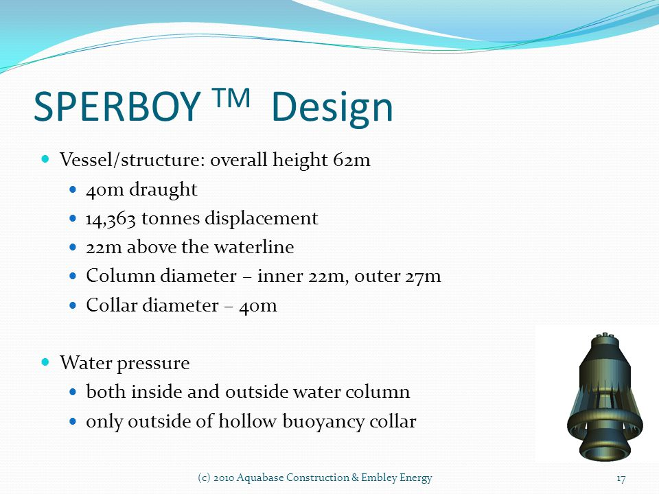 SPERBOY TM Design Vessel/structure: overall height 62m 40m draught