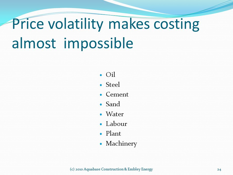Price volatility makes costing almost impossible