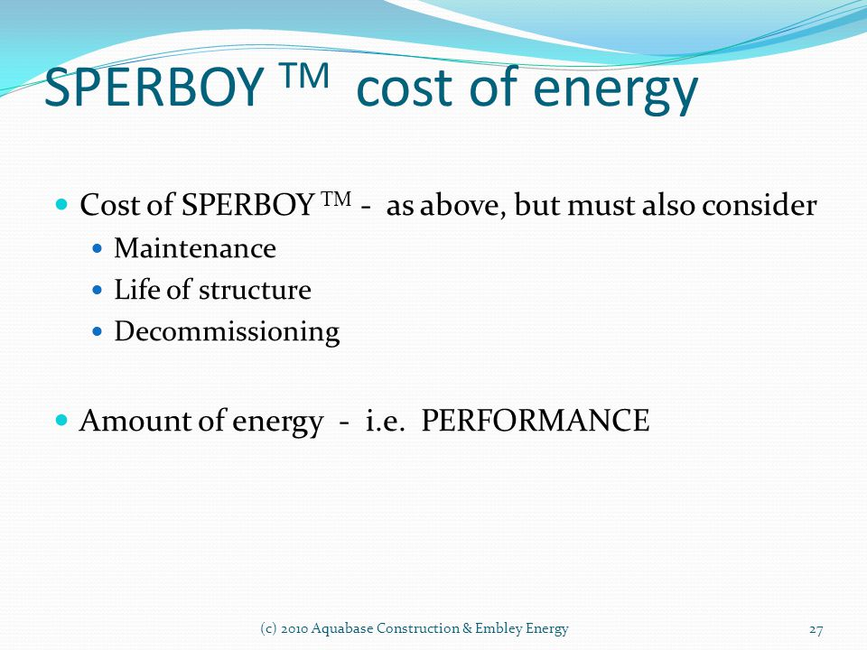 SPERBOY TM cost of energy