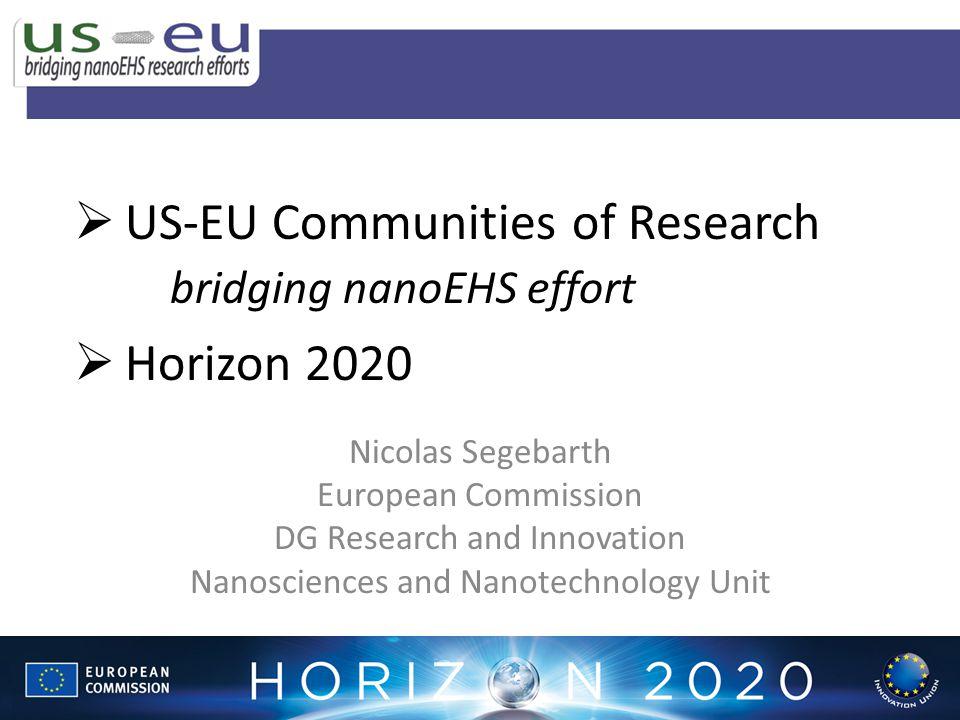 US-EU Communities of Research bridging nanoEHS effort Horizon 2020