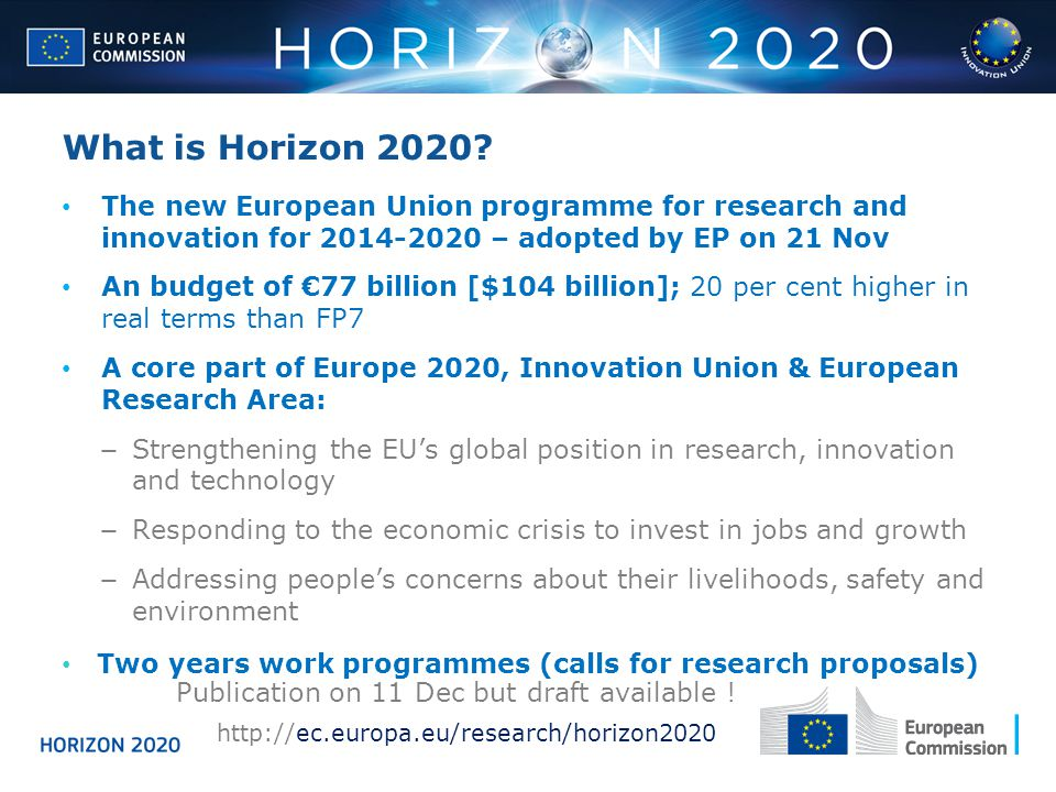 What is Horizon 2020 The new European Union programme for research and innovation for 2014-2020 – adopted by EP on 21 Nov.
