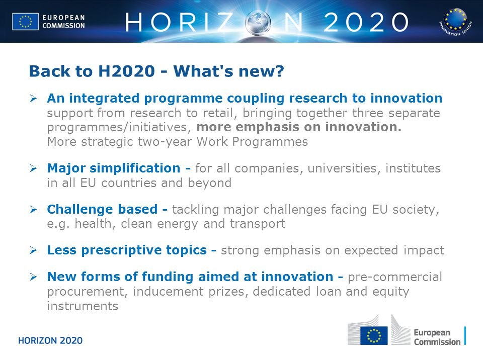 Back to H2020 - What s new