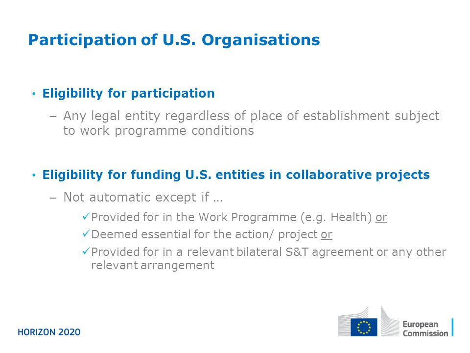 Participation of U.S. Organisations