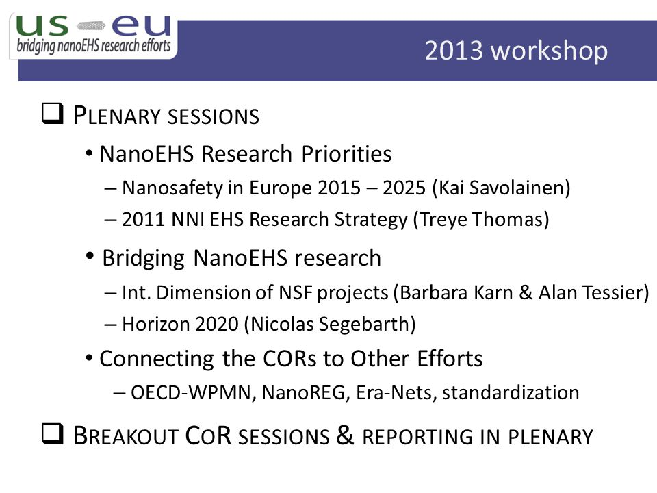 Bridging NanoEHS research