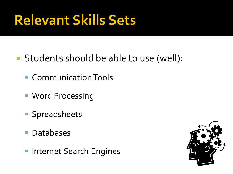Relevant Skills Sets Students should be able to use (well):
