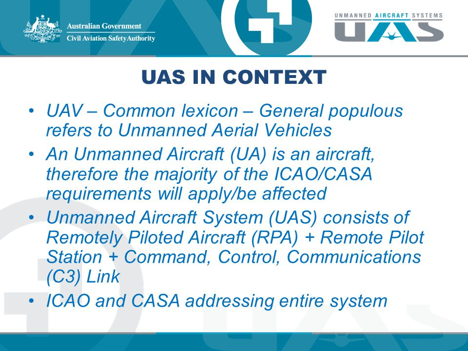 UAS in Context UAV – Common lexicon – General populous refers to Unmanned Aerial Vehicles.