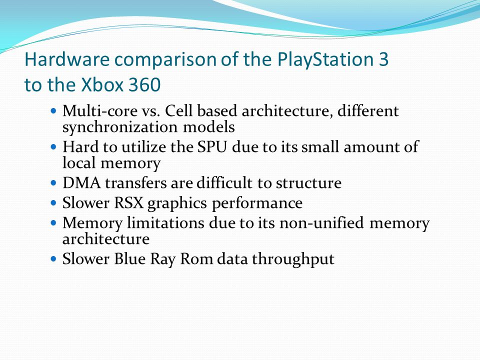 Hardware comparison of the PlayStation 3 to the Xbox 360