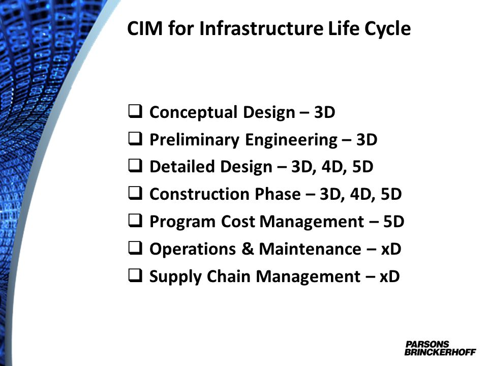 CIM for Infrastructure Life Cycle
