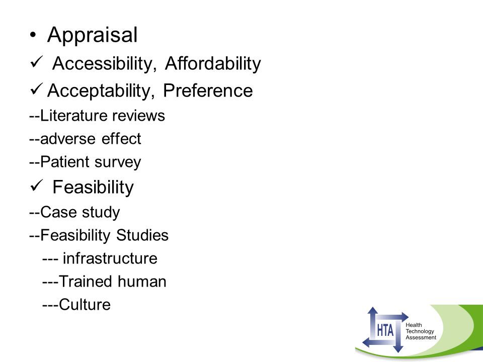 Appraisal Accessibility, Affordability Acceptability, Preference