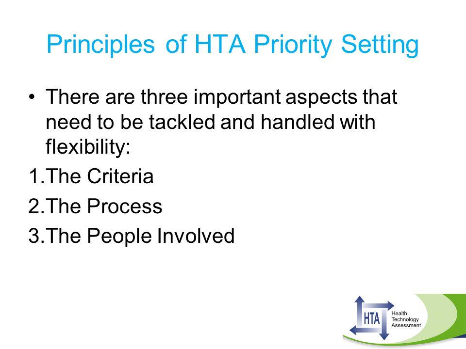 Principles of HTA Priority Setting