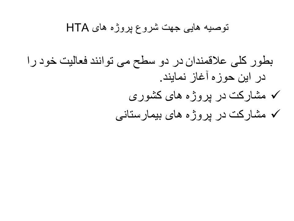 توصیه هایی جهت شروع پروژه های HTA