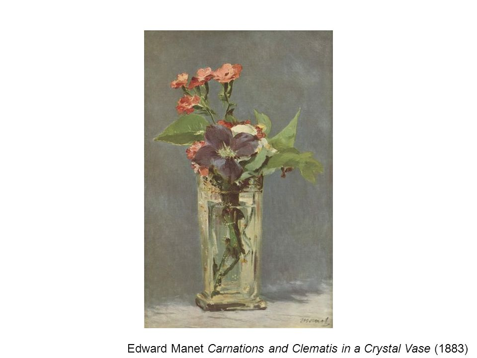 Edward Manet Carnations and Clematis in a Crystal Vase (1883)