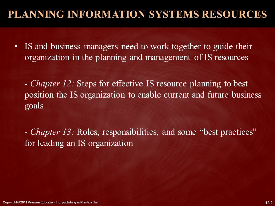 PLANNING INFORMATION SYSTEMS RESOURCES