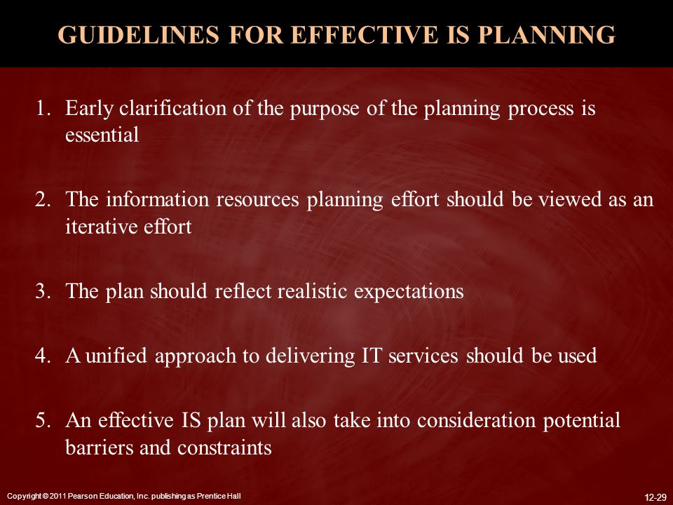 GUIDELINES FOR EFFECTIVE IS PLANNING