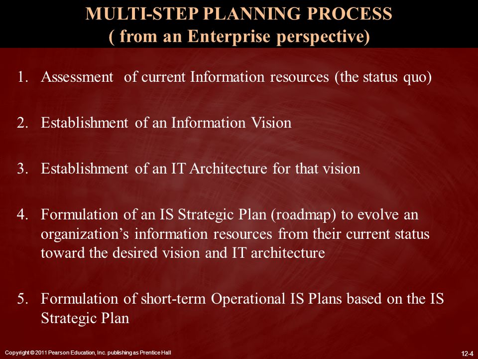 MULTI-STEP PLANNING PROCESS ( from an Enterprise perspective)