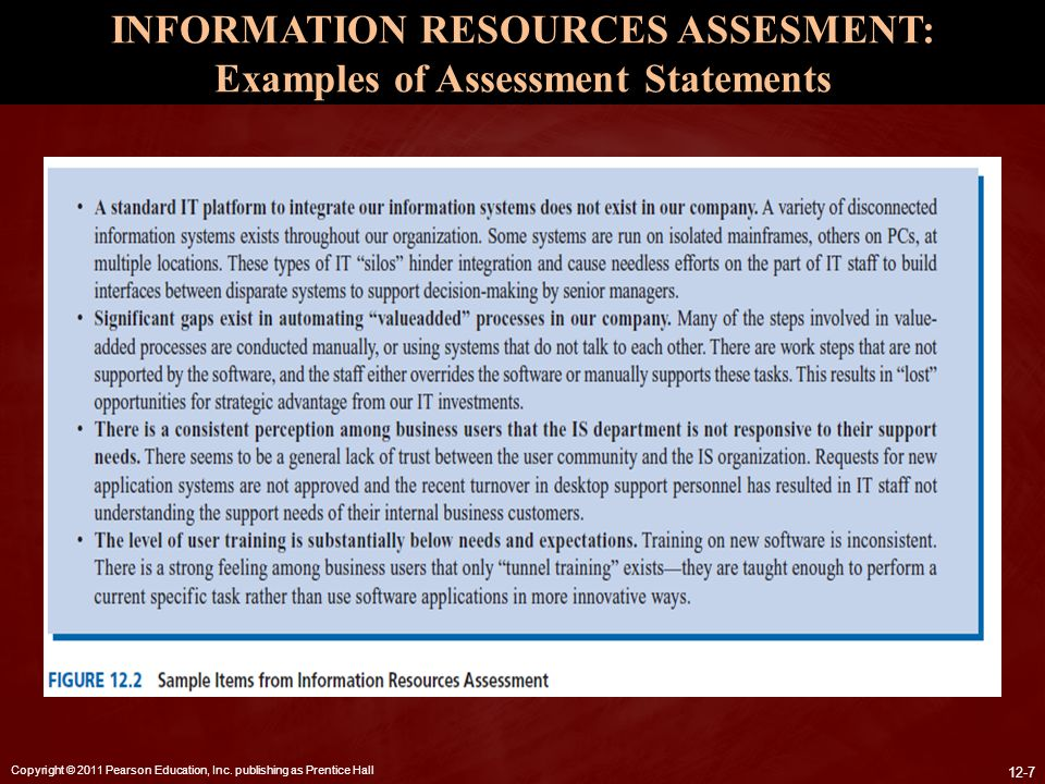 INFORMATION RESOURCES ASSESMENT: Examples of Assessment Statements
