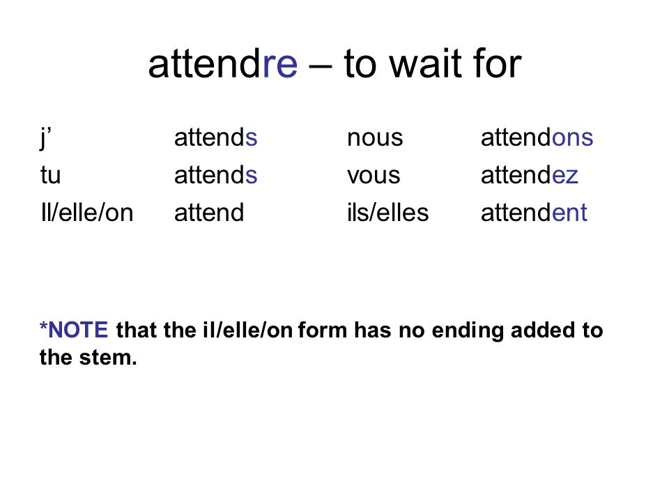attendre – to wait for j' attends tu attends Il/elle/on attend