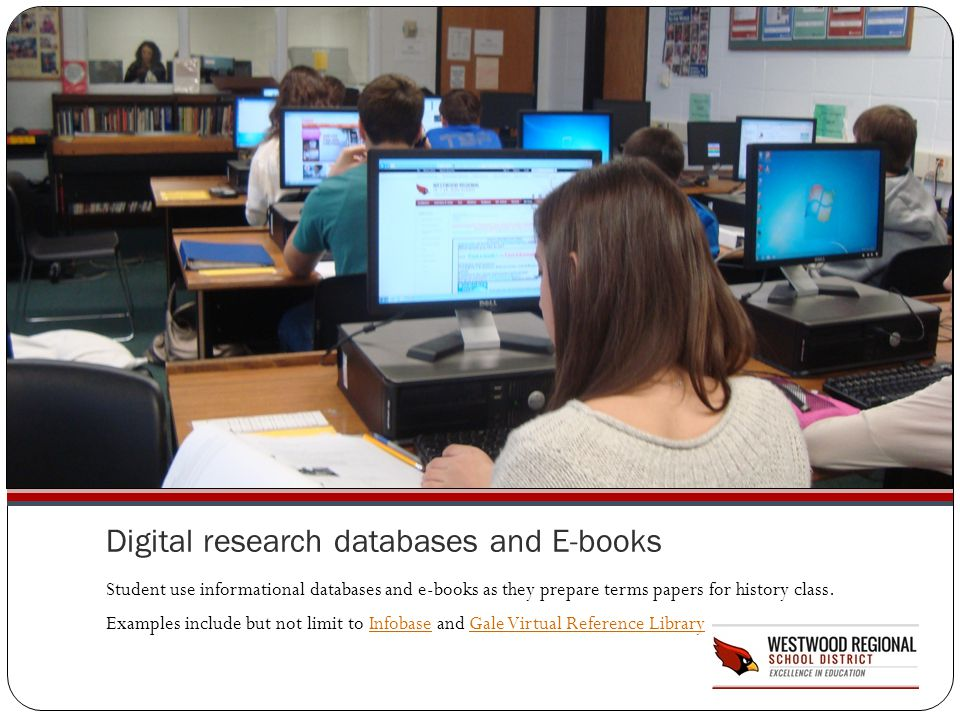 Digital research databases and E-books