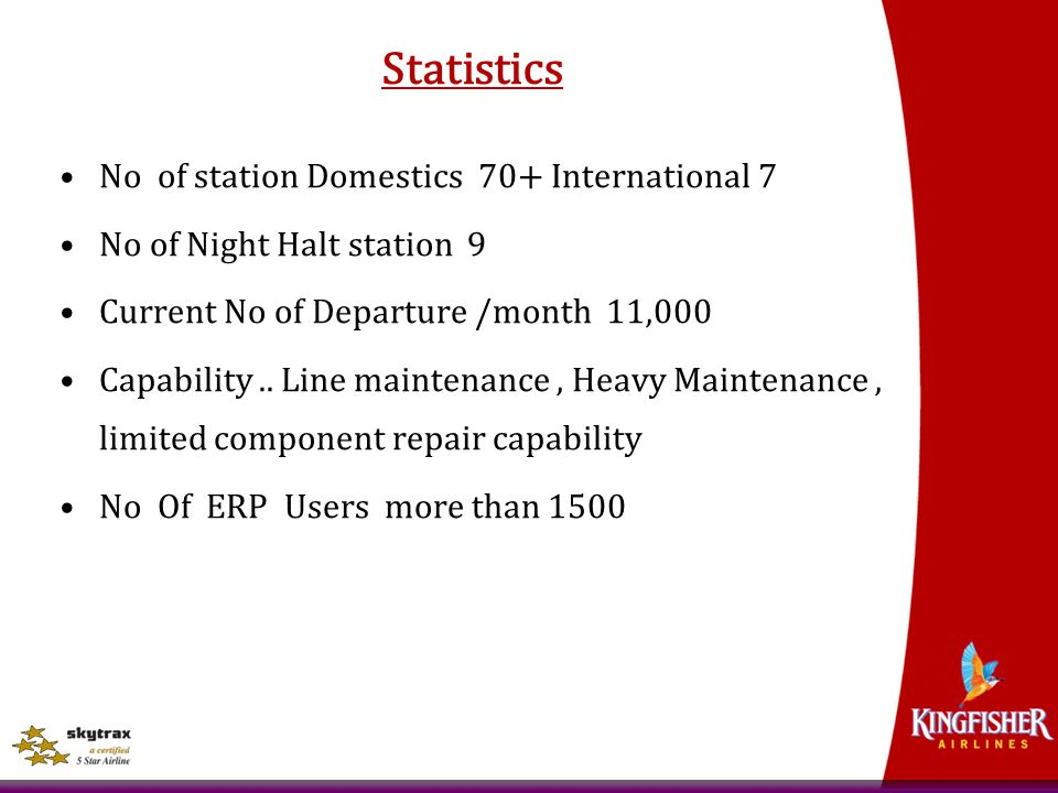 Statistics No of station Domestics 70+ International 7