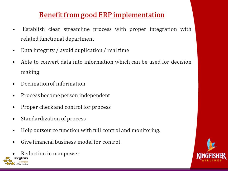 Benefit from good ERP implementation
