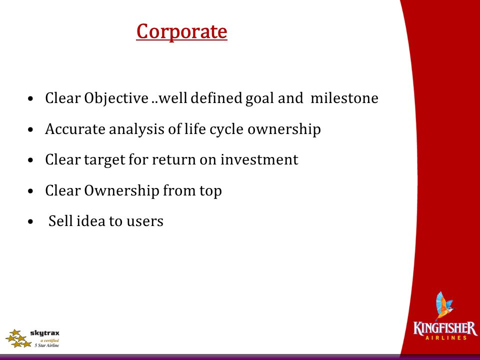 Corporate Clear Objective ..well defined goal and milestone