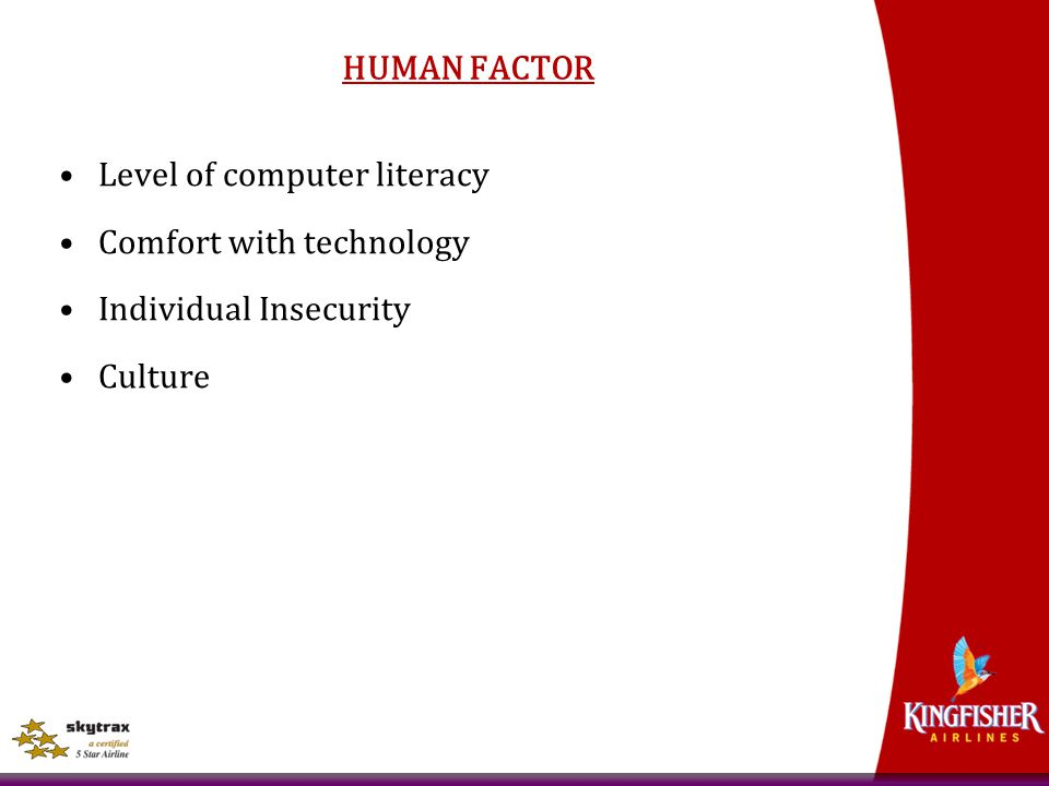 HUMAN FACTOR Level of computer literacy Comfort with technology Individual Insecurity Culture
