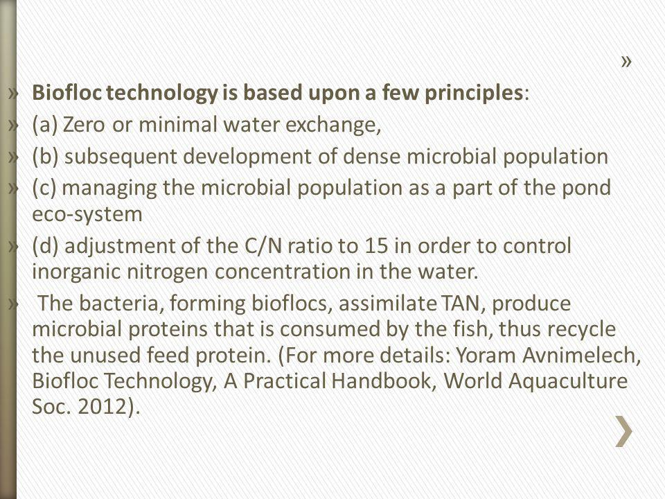 Biofloc technology is based upon a few principles: (a) Zero or minimal water exchange, (b) subsequent development of dense microbial population.