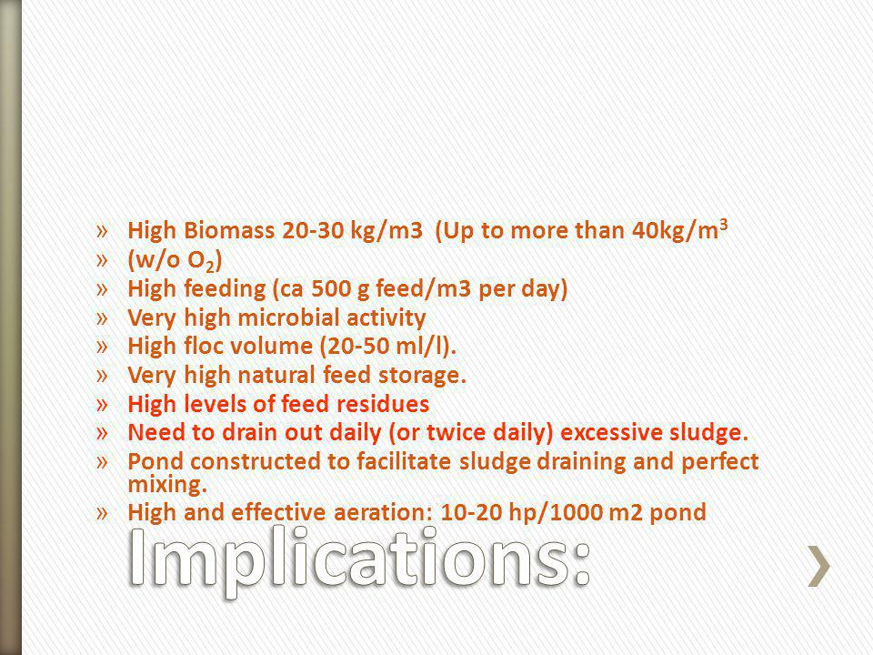 Implications: High Biomass 20-30 kg/m3 (Up to more than 40kg/m3