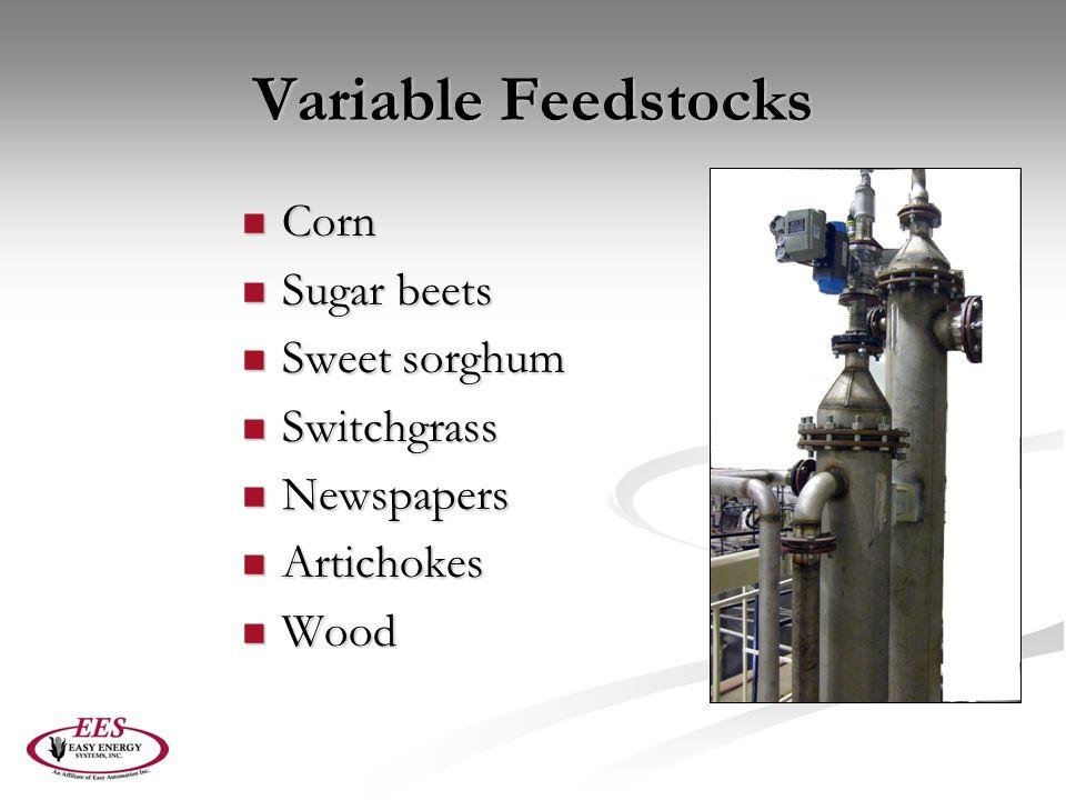 Variable Feedstocks Corn Sugar beets Sweet sorghum Switchgrass