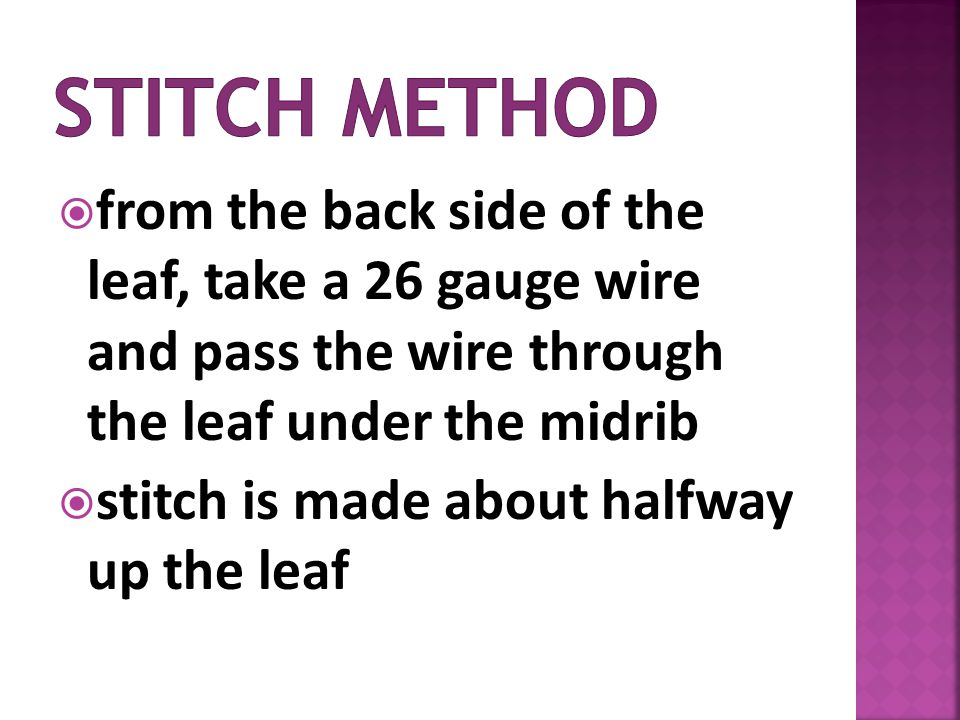 Stitch method from the back side of the leaf, take a 26 gauge wire and pass the wire through the leaf under the midrib.
