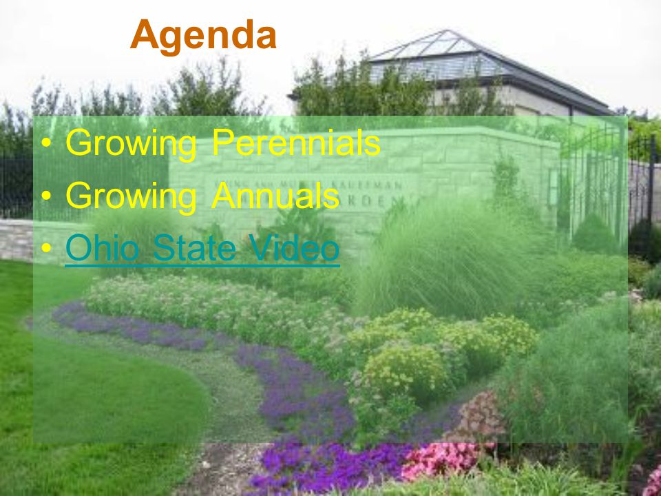 Agenda Growing Perennials Growing Annuals Ohio State Video