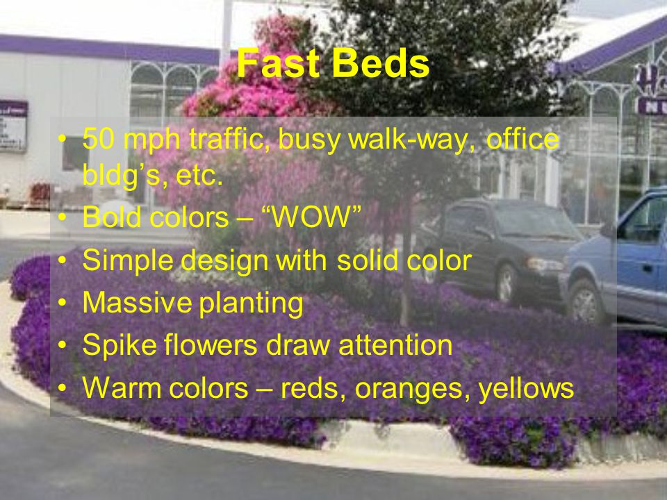 Fast Beds 50 mph traffic, busy walk-way, office bldg's, etc.