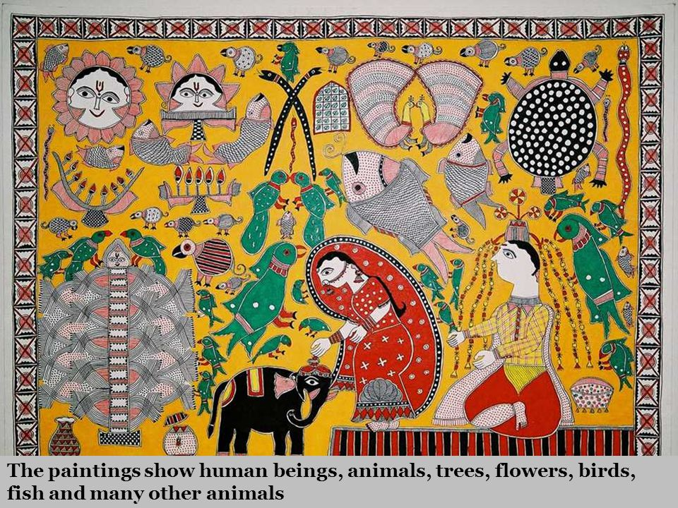 The paintings show human beings, animals, trees, flowers, birds, fish and many other animals