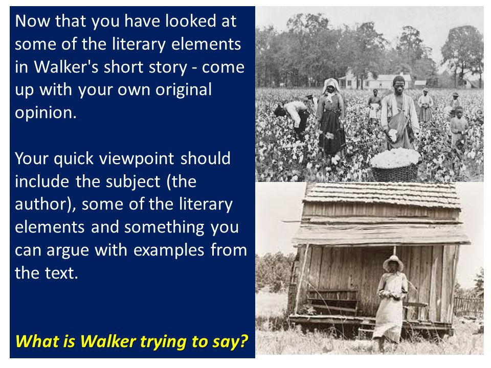 Now that you have looked at some of the literary elements in Walker s short story - come up with your own original opinion.