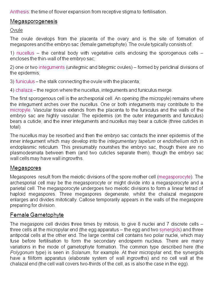 Megasporogenesis Megaspores Female Gametophyte