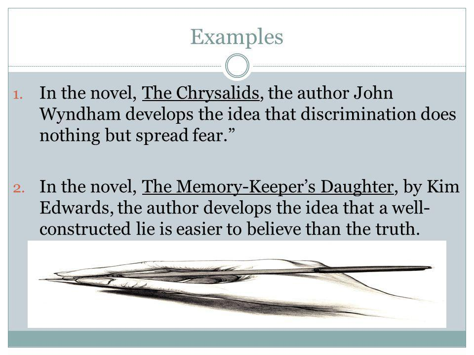 Examples In the novel, The Chrysalids, the author John Wyndham develops the idea that discrimination does nothing but spread fear.