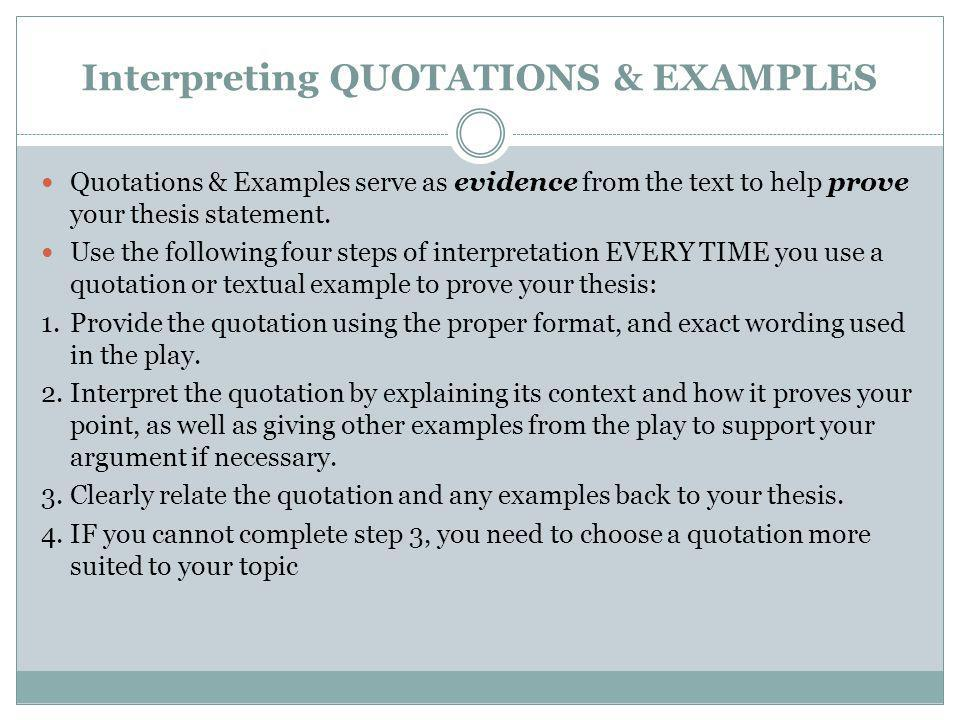 Interpreting QUOTATIONS & EXAMPLES