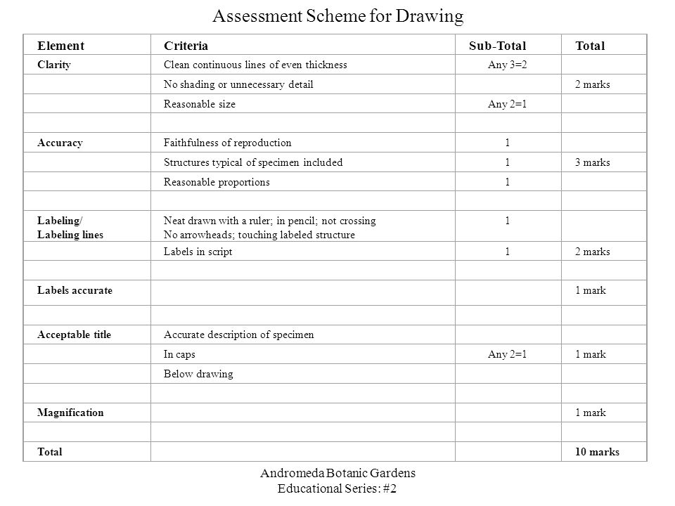 Assessment Scheme for Drawing