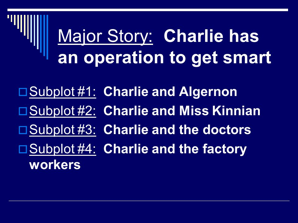 Major Story: Charlie has an operation to get smart