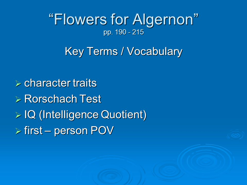 flowers for algernon rdquo pp ppt 2 ldquoflowers
