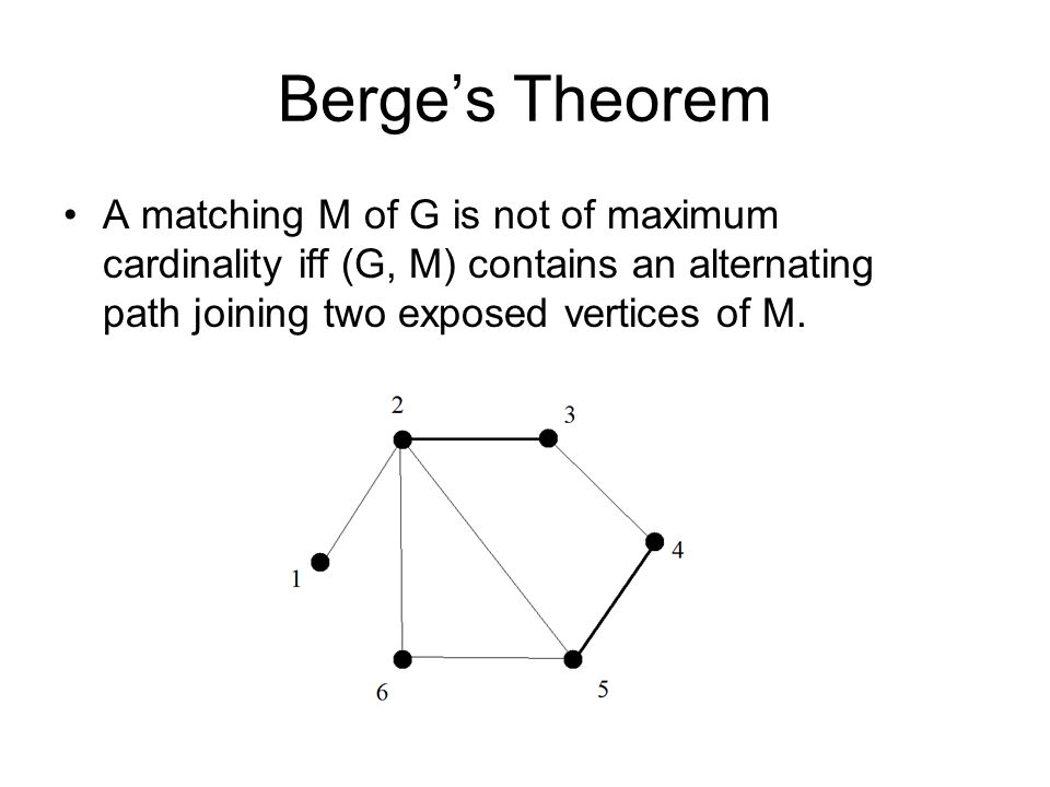Berge's Theorem A matching M of G is not of maximum cardinality iff (G, M) contains an alternating path joining two exposed vertices of M.