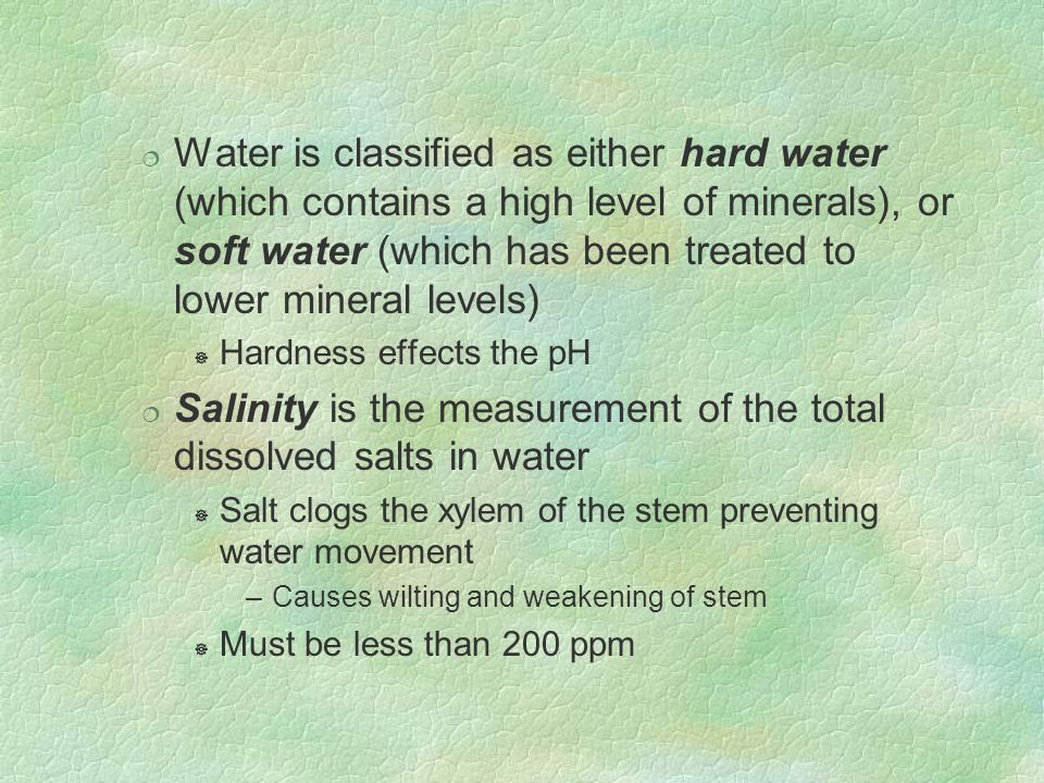 Salinity is the measurement of the total dissolved salts in water