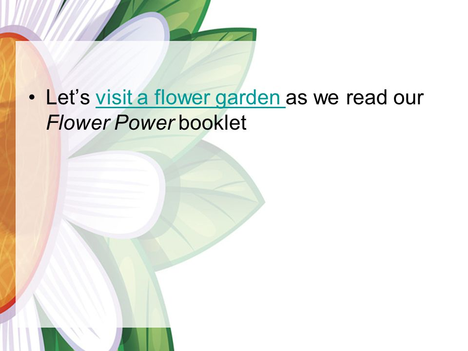 Let's visit a flower garden as we read our Flower Power booklet