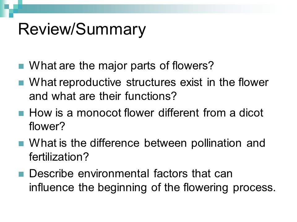 Review/Summary What are the major parts of flowers