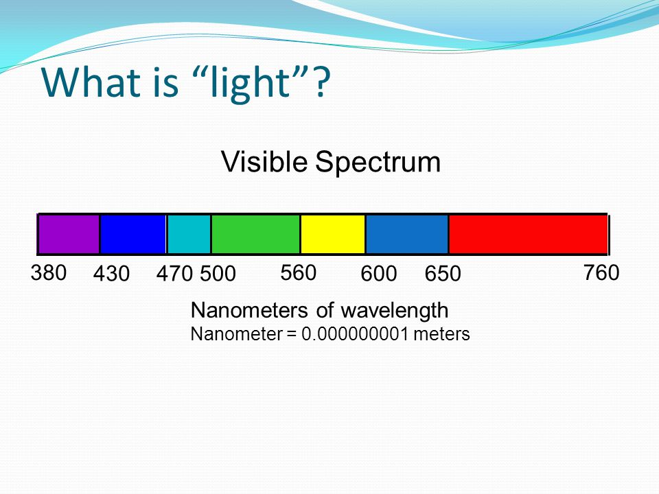 What is light Visible Spectrum 380 430 470 500 560 600 650 760